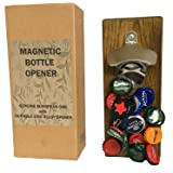 Magnetic Bottle Opener with cap catcher - mounted on European Oak. For Fridge or Wall Mounting. Ideal Man Cave Gift and Barware Accessory