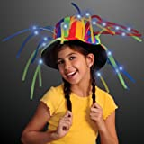 FlashingBlinkyLights Funny Clown Top Hat with LED Lights & Noodle Hair