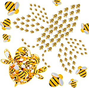 100 Pieces Tiny Resin Bees Decor Bumblebee Shaped Decorations Decorative Resin Bees Embellishment for DIY Craft Scrapbooking Party Home Decor, 3 Sizes