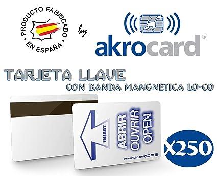 Pack 250 Tarjetas PVC Llave y luz con Banda magnética LO-CO (Baja ...