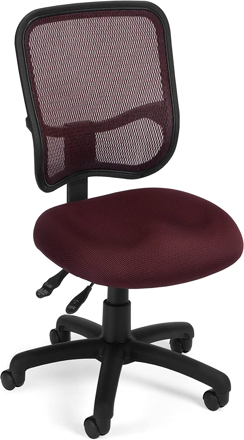 OFM Core Collection Comfort Series Ergonomic Mesh Mid Back Armless Task Chair, in Wine