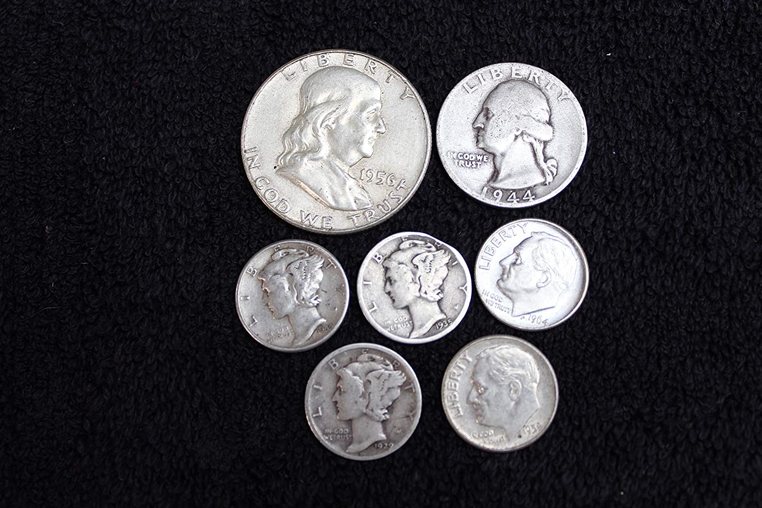 1916 to 1964 US Silver Coins, Franklin Half Dollar, Washington Quarter, Roosevelt and Mercury Dimes - 7 Coins Fine and Better