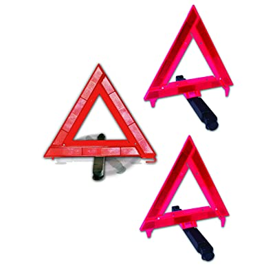 Justin Case Reflective Safety Triangle - 2 Ground & 1 Window (Pack of Three)– Reflective Triangles for Roadside Emergencies: Automotive