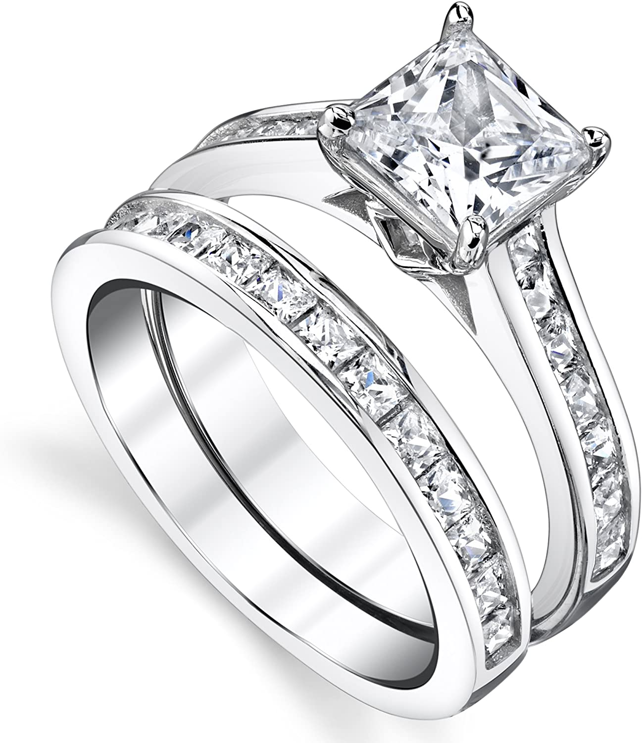 SADUORHAPPY 925 Sterling Silver Cubic Zirconia Channel-Set Engagement Ring and Wedding Band Bridal Set Couple Rings