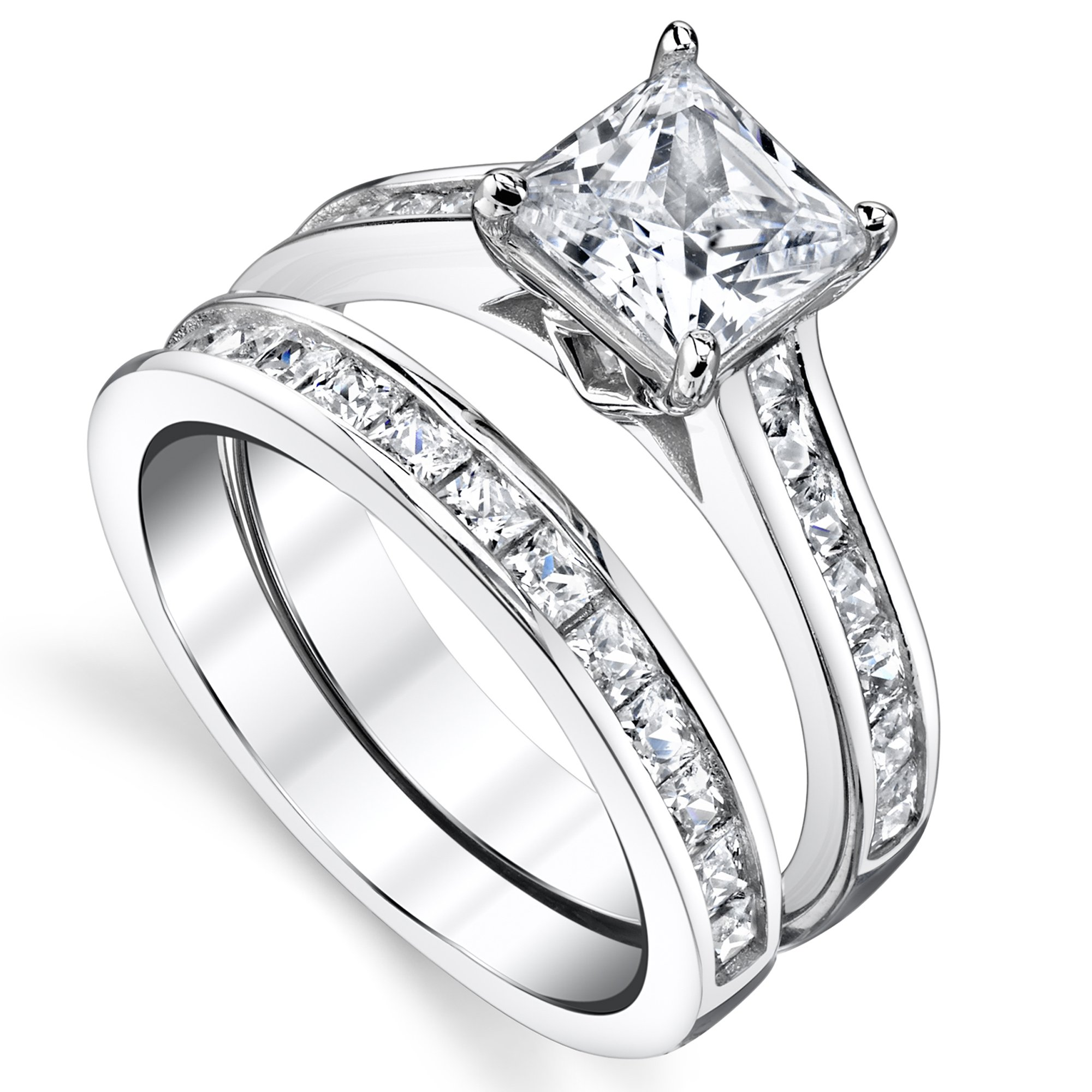 Sterling Silver Princess Cut Bridal Set Engagement Wedding Ring Bands With Cubic Zirconia Size 7 by Bonndorf (Image #1)