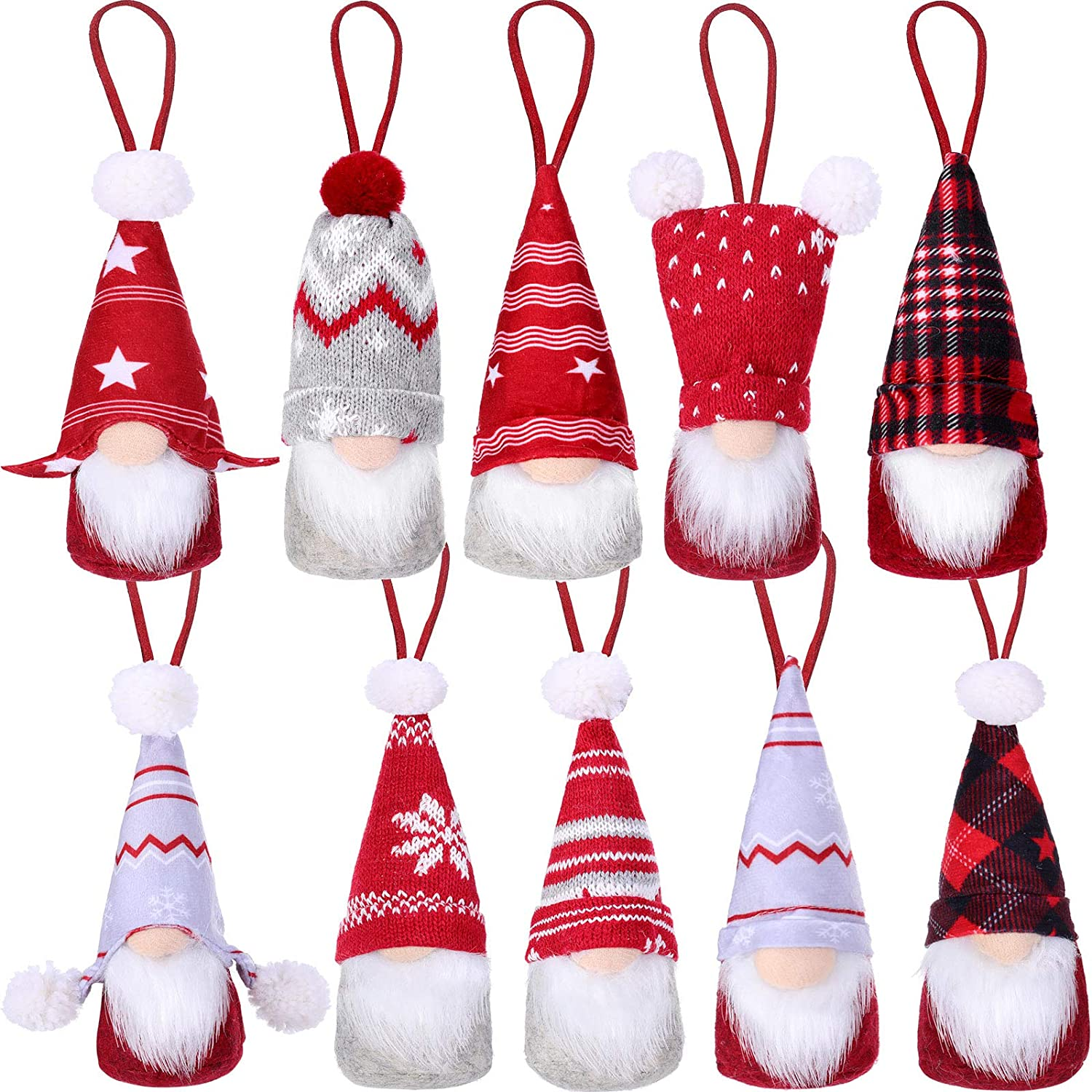 WILLBOND 10 Pieces Christmas Tree Gnome Ornaments Handmade Christmas Scandinavian Plush Decorations Swedish Tomte Gnomes Hanging Decorations Gnome Ornaments Set for Christmas Tree Hanging Home Decor