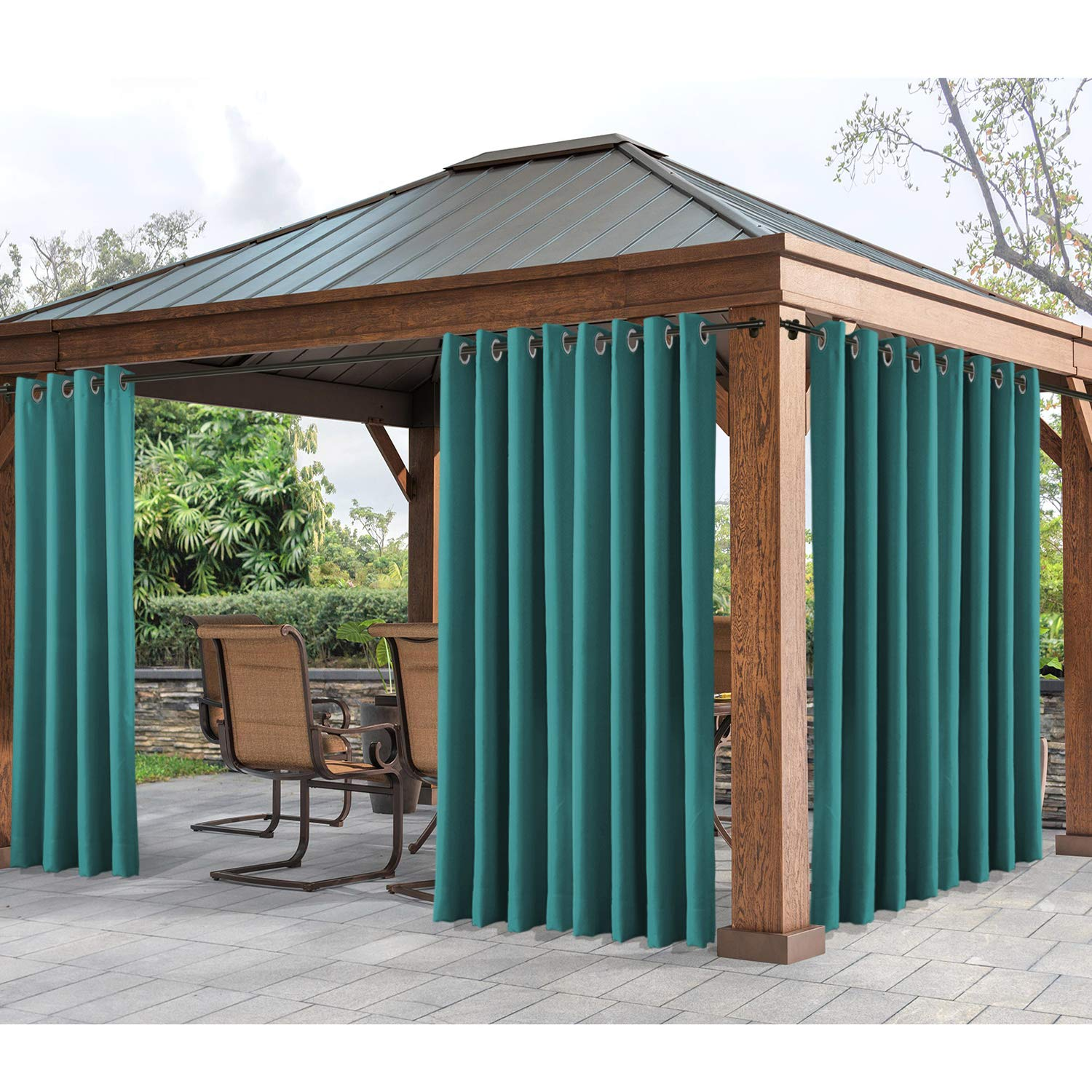 cololeaf Outdoor Curtains Water Resistant,Grommet Thremal Insulated Blackout Curtain for Patio, Porch, Gazebo, Pergola, Cabana, Dock, Beach Home - Turquoise 84'' Wx96 L Inch (1 Panel)