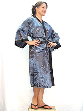 Grey His or Hers Patterned Oriental Kimono Style Dressing Gown/Robe ...