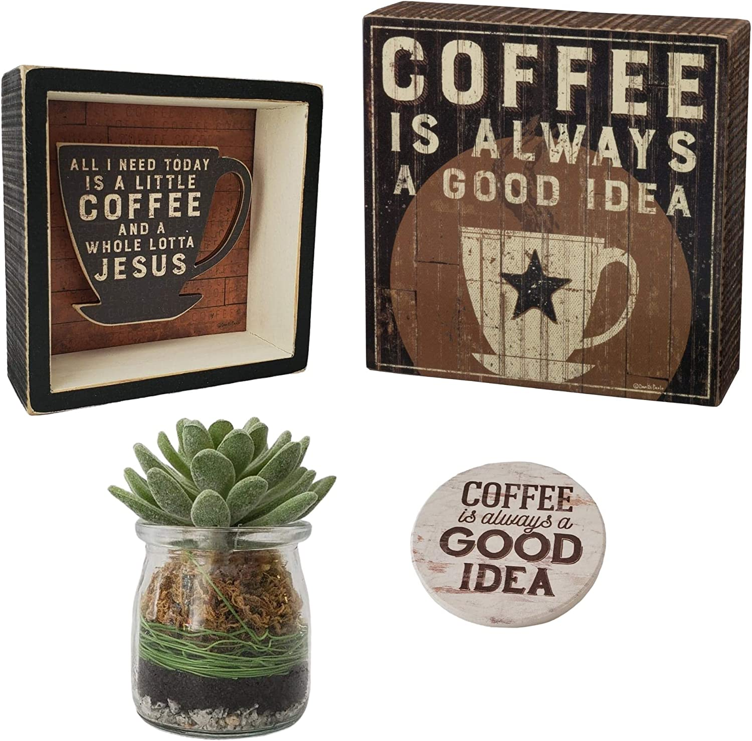 Primitives by Kathy Coffee Signs for Coffee Bar Decor - 4 Piece Set Includes 2 Coffee Sign 1 Faux Succulent & 1 Coffee Decor Spoon Rest