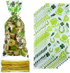 100 Pack St. Patrick Day Candy Cellophane Bag Lucky Shamrock Leprechaun Hat Treat Bag Leprechaun Footprint Lucky Cello Bag Shamrock Goody Bags Grab Bag(Style 4)