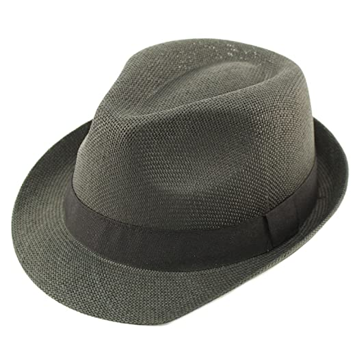 acdb67e2fef Unisex Basic Cool Lightweight Summer Derby Fedora Trilby Adjustable Hat  Black