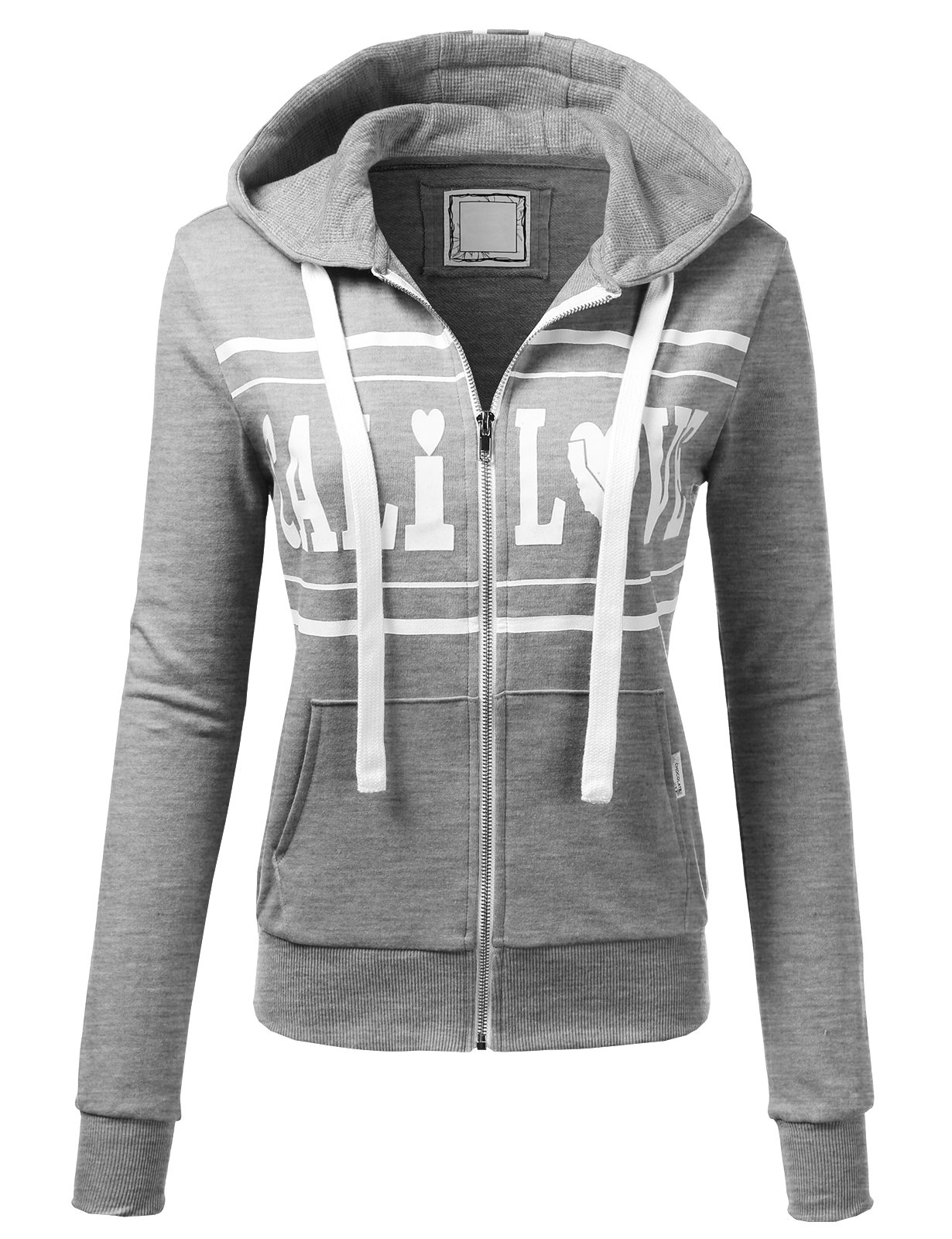 H2H Womens Love Logo Slim Fit Full Zip Up Long Sleeve Hoodie Cotton Jacket HeatherGray S