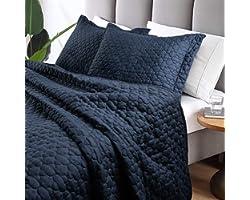 Tempcore Quilt Queen Size Navy Blue 3 Piece,Microfiber Lightweight Soft Bedspread Coverlet for All Season,Full/Queen Navy Blu