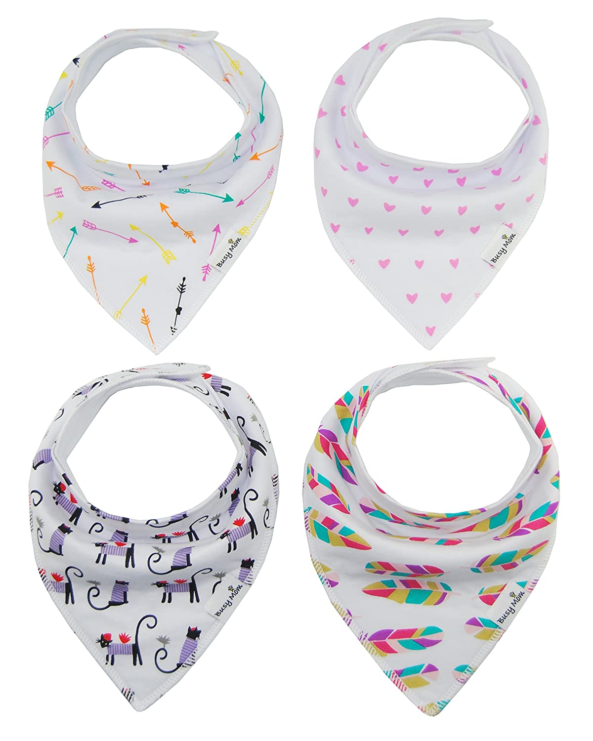4-Pack Unisex Baby Toddlers Bandana Drool Bibs with Snaps 100% Soft Organic Cotton Unique Shower Gift Set Super Absorbent for Teething Feeding Fashion Adjustable (AA) MY004AA-1