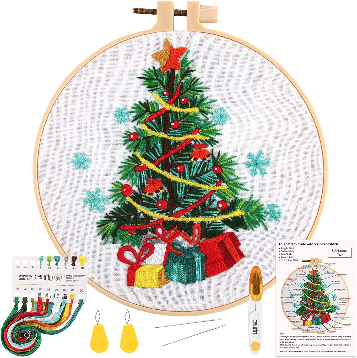 Caydo Full Range of Embroidery Kit for Beginner Embroidery Starter Kit Crafts Including Embroidery Clothes with Christmas Tree Stamped Pattern, Hoops, Color Threads and Instructions