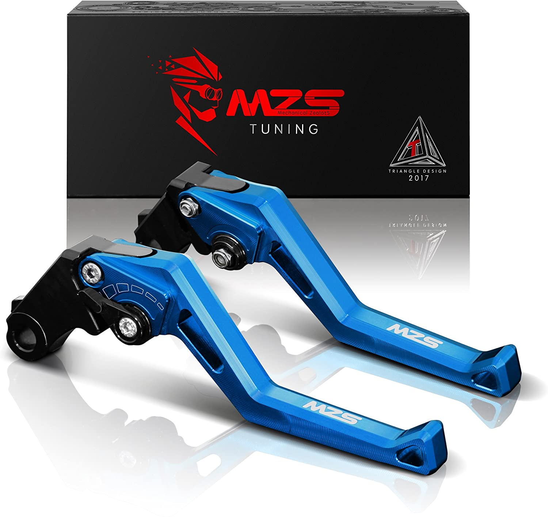 MZS Short Levers Adjustment Brake Clutch for Suzuki GSXR600 1997-2003// GSXR750 1996-2003// GSXR1000 2001-2004// SFV650 2009-2015// SV650 2016-2018// TL1000S 1997-2001// DL650 2011-2018// GSX250R 2018 Silver