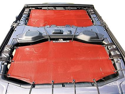 70dd2984196 Amazon.com: ALIEN SUNSHADE Jeep Wrangler 4 Door JLU 2-Piece Front & Rear  Sun Shade Mesh Top Combo 2018+ (New Body Style) (Cherry Red): Automotive