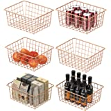 Wire Basket, Ace Teah Metal Wire Storage Basket, Food Organizer Storage Bin for Pantry, Kitchen Cabinets, Closets, 6 Pack, Ro