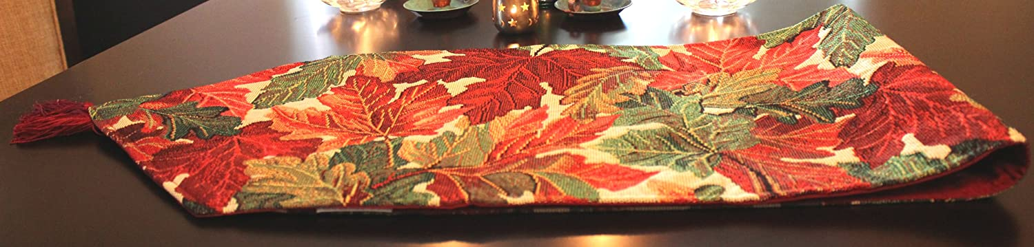 Amazon.com: Tache Tapestry Warm Colorful Thanksgiving Leaves Fall Foliage Table  Runners: Home U0026 Kitchen