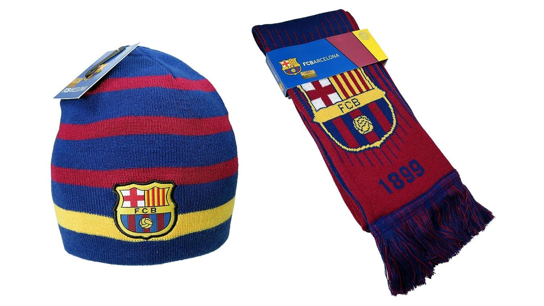 FC Barcelona Authentic Official Licensedサッカービーニー&スカーフコンボ – 01 – 2 B077PZJ6GC