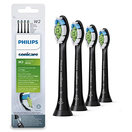 Philips HX6064/11 - Pack con 4 cabezales Optimal White para cepillos Sonicare, color negro