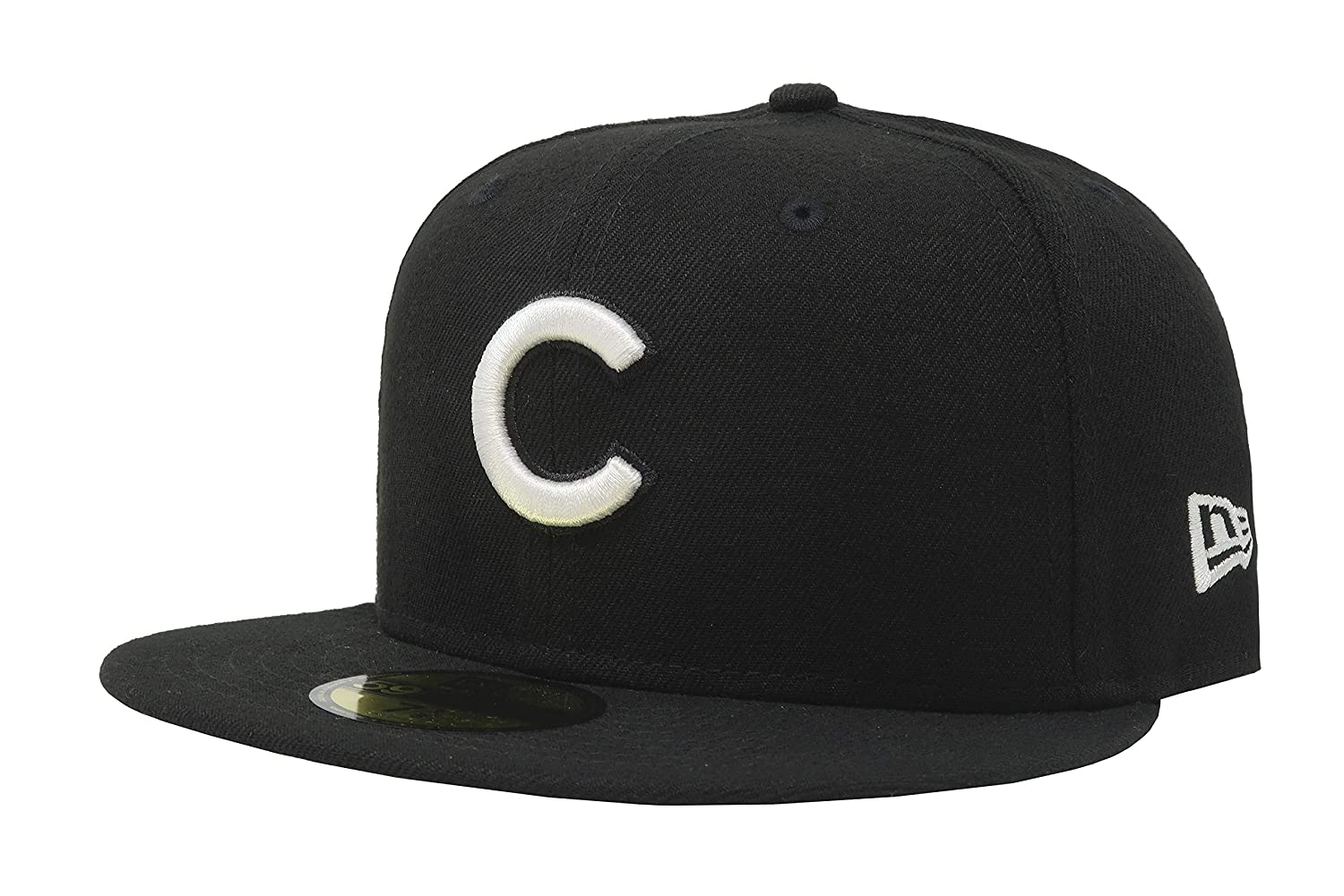 15ac029ea26 Amazon.com  New Era 59Fifty Hat MLB Basic Chicago Cubs Black White Fitted  Baseball Cap  Clothing