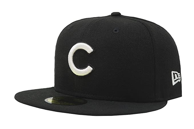 New Era 59Fifty Hat MLB Basic Chicago Cubs Black White Fitted Baseball Cap  (6 ed034c51dbe5