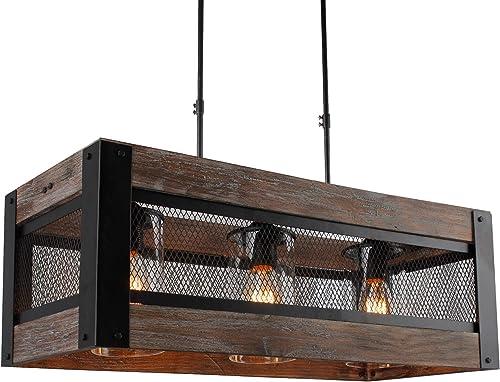 24 Inch Wide, Wood Wooden Rectangular Farmhouse Pendant Wire Mesh 3 – Light