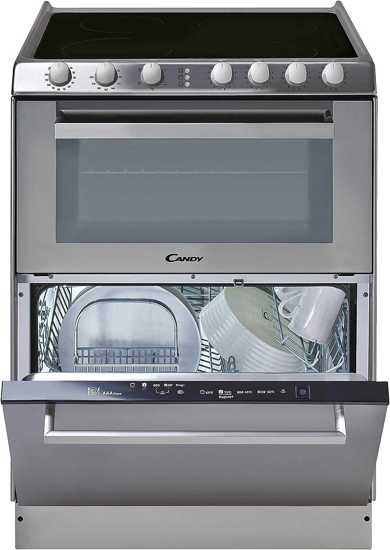 Candy TRIO 9503/1 X/U - Vitrocerámica, lavavajillas y horno en 60cm, independiente, mandos mecánicos, horno eléctrico multifunción 41L, lavavajilla 6 servicios, inox