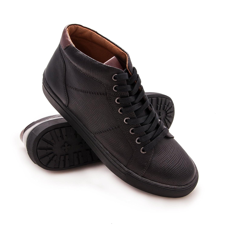 Zerimar Botín de Piel Para Hombre Zapato Elegante Para Hombre 42 EU|Negro
