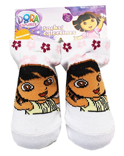 Dora the Explorer White Floral Baby Bootie Socks (1 Pair, 6-12 Months