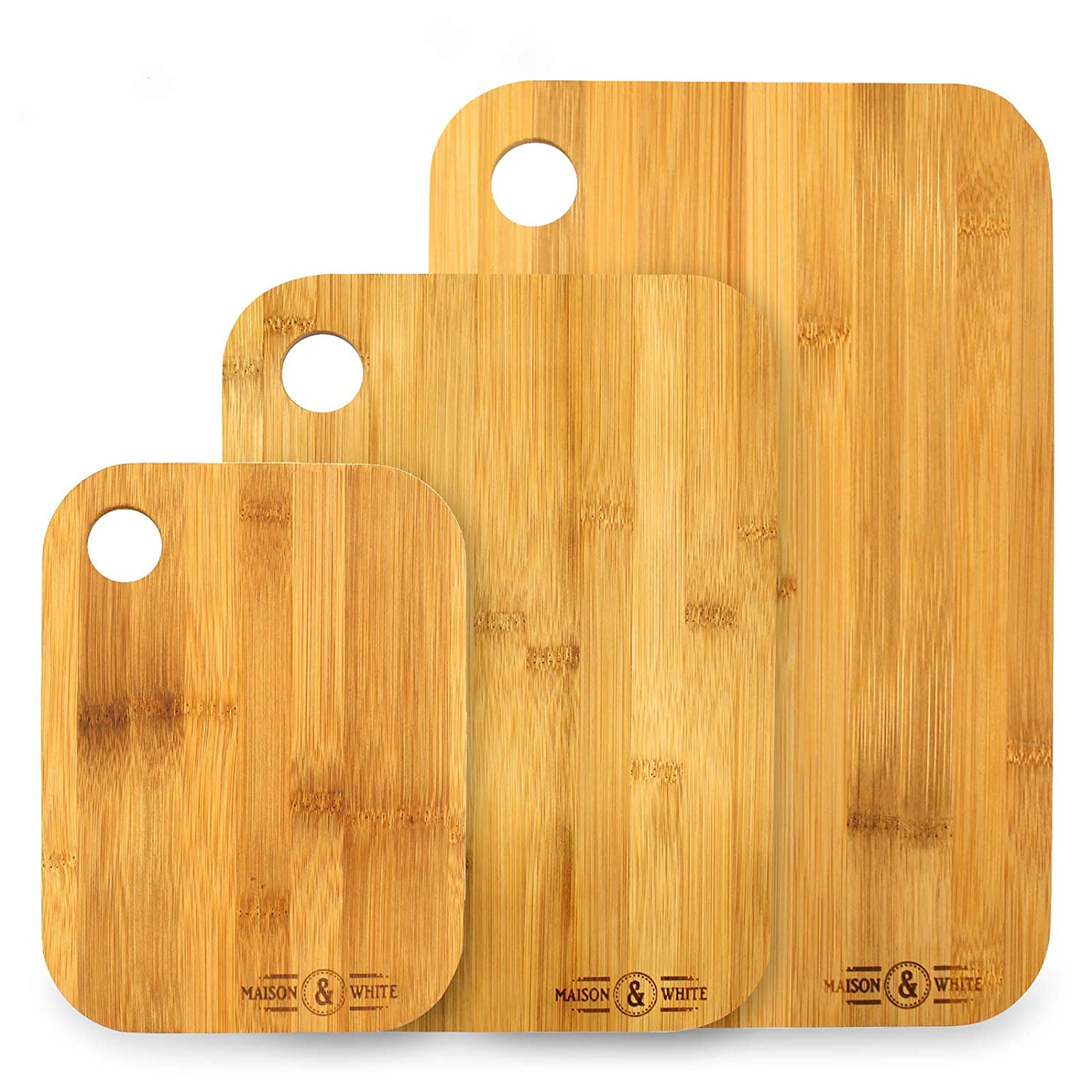 3 bamboo chopping board set x3 different size kitchen set wooden cutting board suitable for all food types 100 natural bamboo mw amazon co uk