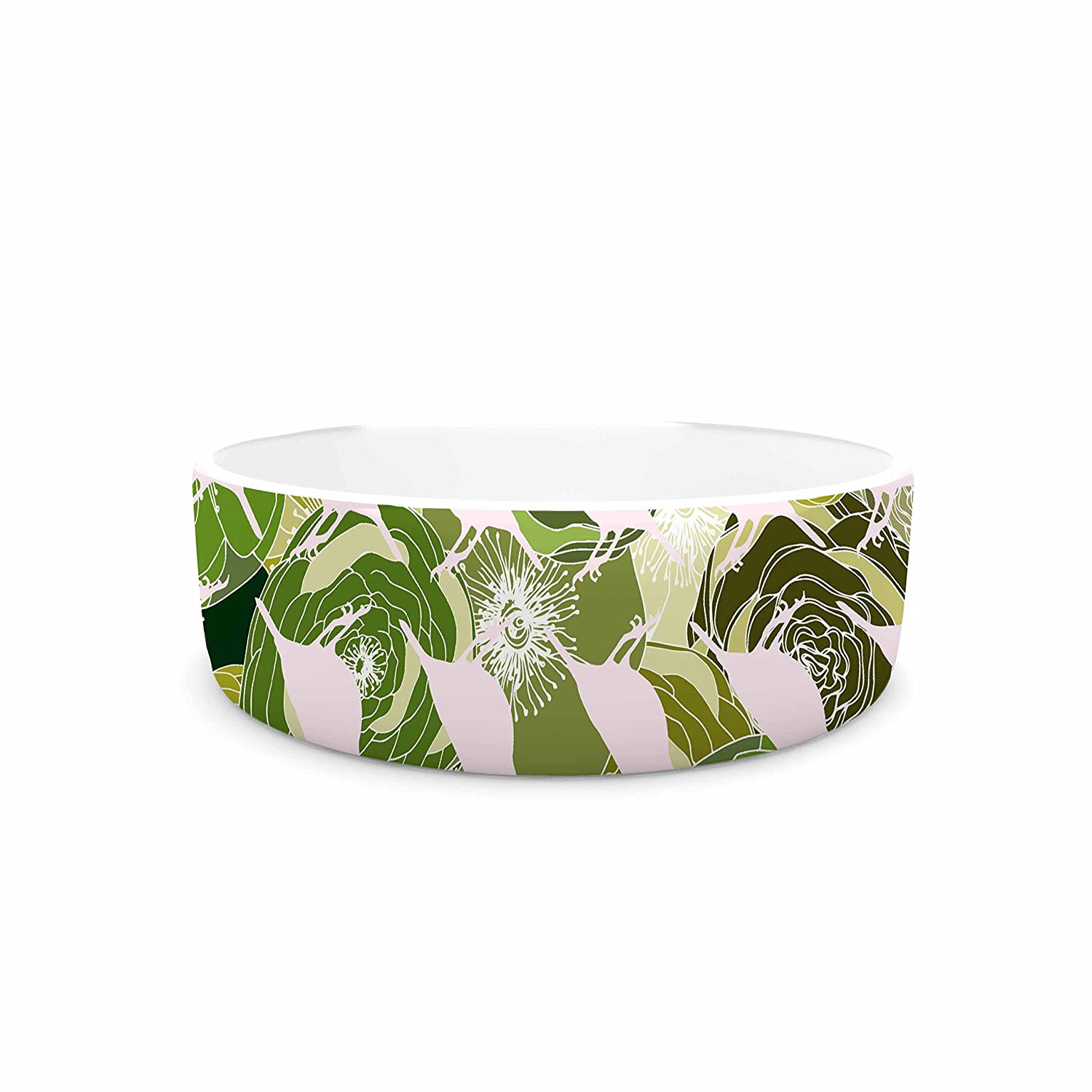 4.75\ KESS InHouse Anchobee Aisha  Green Pattern Pet Bowl, 4.75