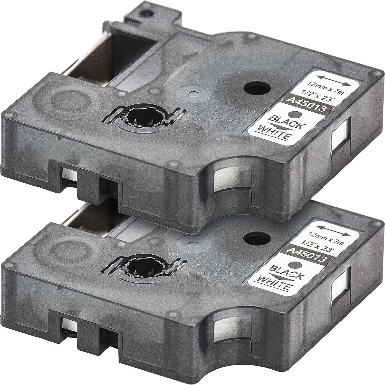 2x Ruban pour Etiqueteuse Compatible remplace DYMO D1 45013 | Noir sur Blanc / 12mm x 7m | pour DYMO LabelPOINT & LabelManager LM100 / LM120P / LM150 / LM160 / LMPC2 / LM200 / LM210D / LM220P / LM260 / LM280 / LM300 / LM350 / LM400 / LM260P / LM350D /