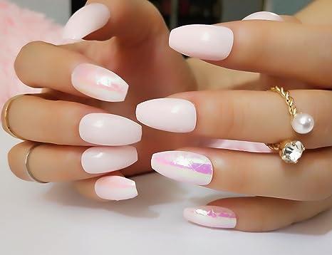 24PCS rosa con el color de Shell Shinning ataúd falsos uñas diseñadas para mujeres. Pasa ...