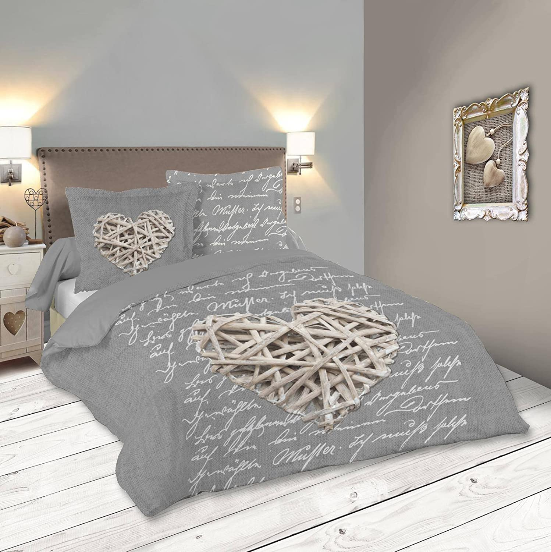Lovely Casa woodlove Funda de edredón, algodón, Gris, 260 x 240 cm ...