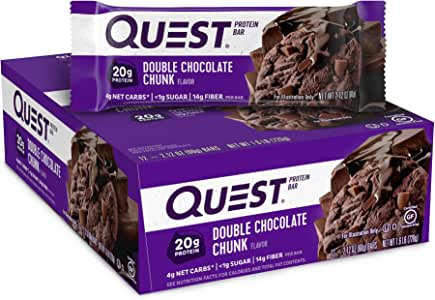 Quest Nutrition Double Chocolate Chunk Flavour Protein Bar, Gluten Free, High Protein, Low Carb, Keto Friendly, 12-Count