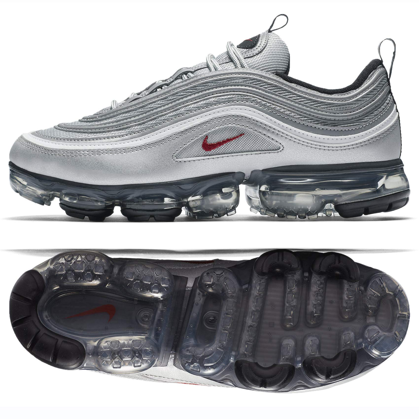 sports shoes 69ea3 c3ce0 Nike Air Vapormax 97 Mens Running Trainers AJ7291 Sneakers Shoes (UK 9.5 US  10.5 EU 44.5, Metallic Silver Varisty red 002)