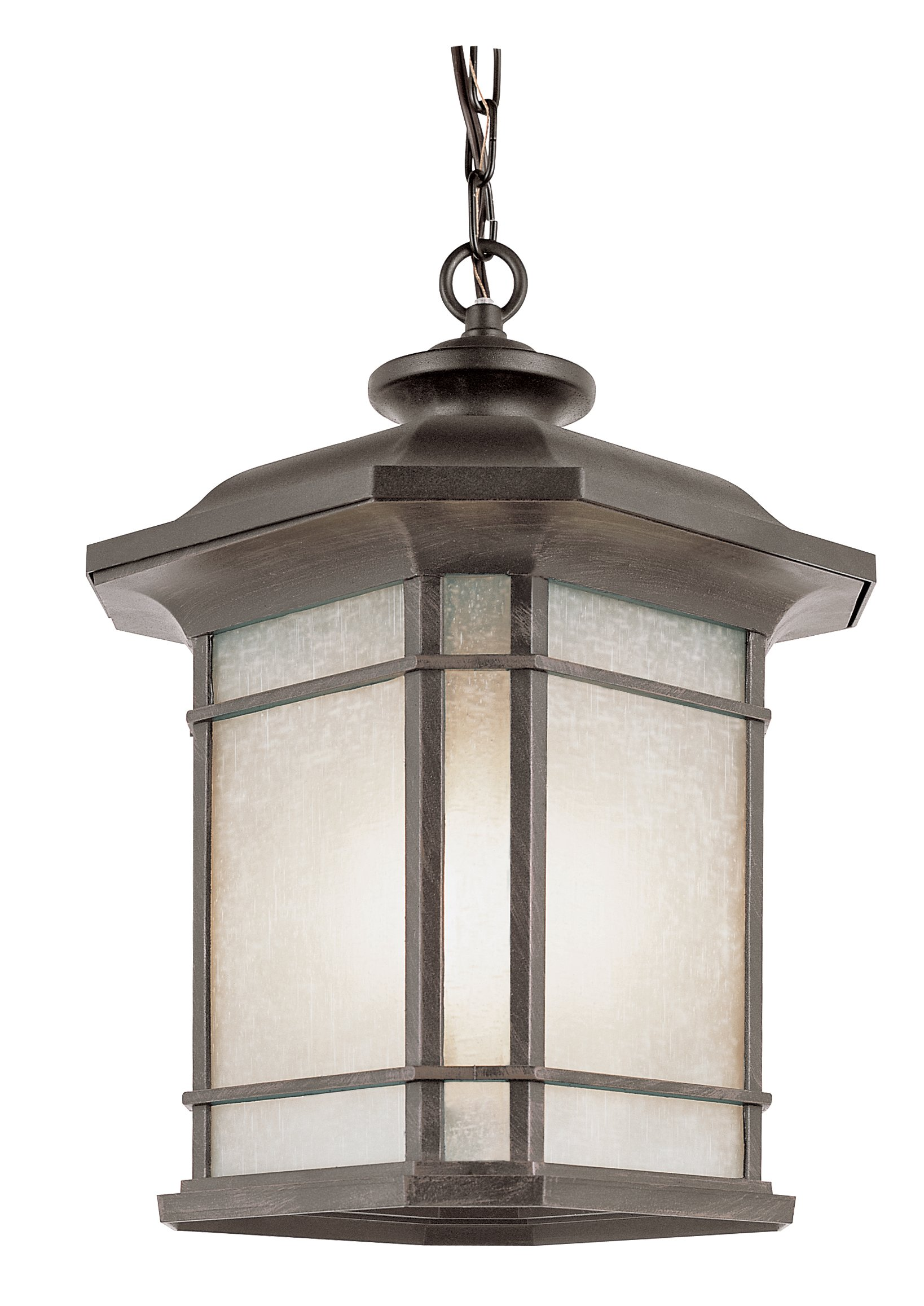 Transglobe Lighting 5825 RT Outdoor Hanging Pendant with Tea Stain Linen Shade, Rust Finished