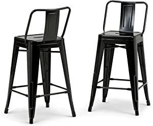 SIMPLIHOME Rayne 24 inch Counter Height Stool, Black Metal, Square, Set of 2, for the Kitchen and Dining Room, Industrial