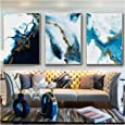 Ocean Blue Abstract Wall Art Picture Canvas Painting Poster Print Image Living Room Decoration (30x40cm)x3Pcs Frameless