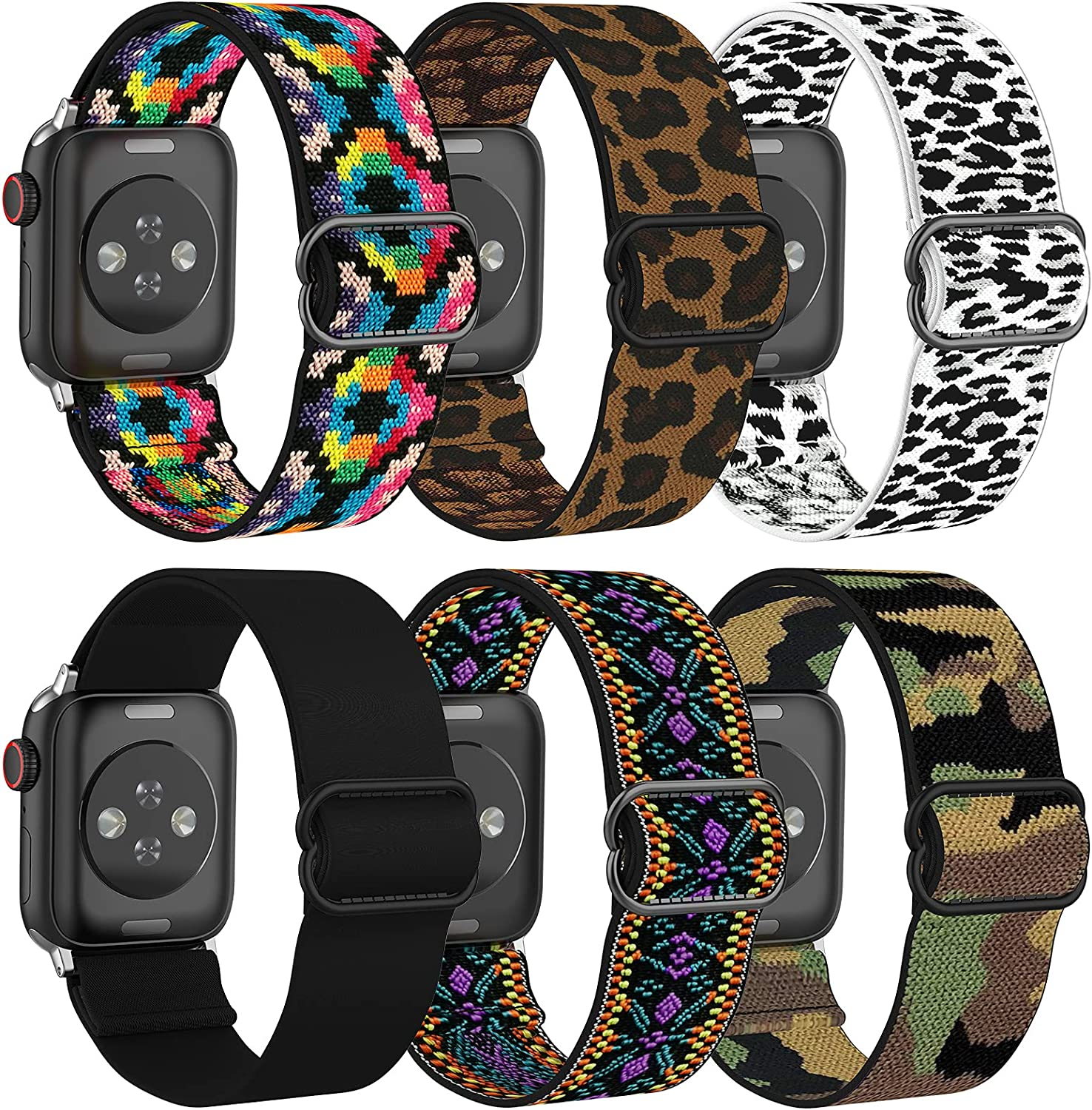 Blueauty Adjustable Elastic Band Compatible with Apple Watch 42mm 44mm, Stretchy Soft Strap for Men/Women Wristband for Apple Watch Series SE/6/5/4/3/2/1