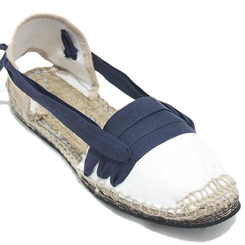 Espardenya.cat Alpargatas Tradicionales Planas Suela de Goma Diseño Tres Vetas o Tabernero Color Azul Marino: Amazon.es: Zapatos y complementos