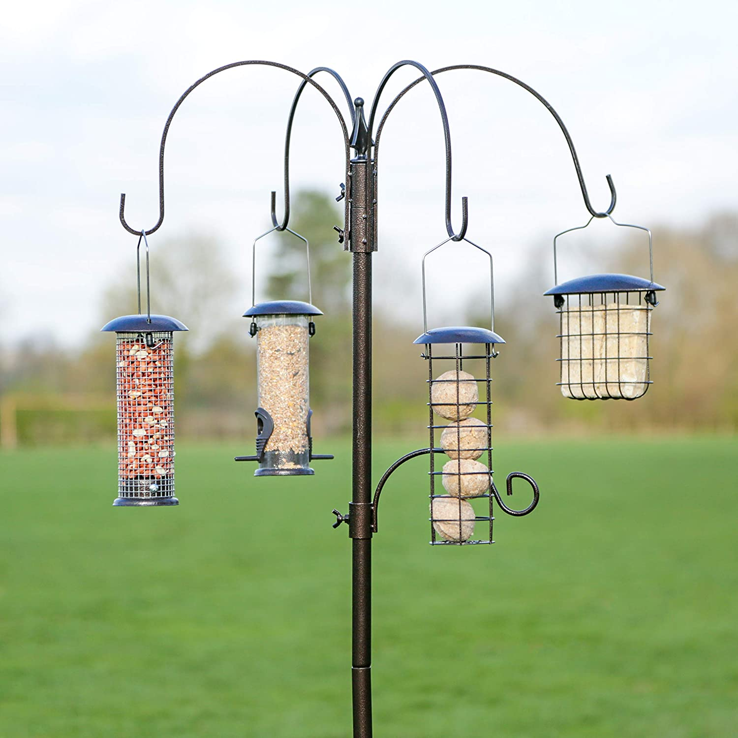 Kingfisher Premium Hammertone Garden Bird Feeding Station with Feeders