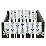 Sweet Jojo Designs 2-Piece Grey, Navy and Mint Woodland Arrow Teething Protector Cover Wrap Baby Crib Side Rail Guards