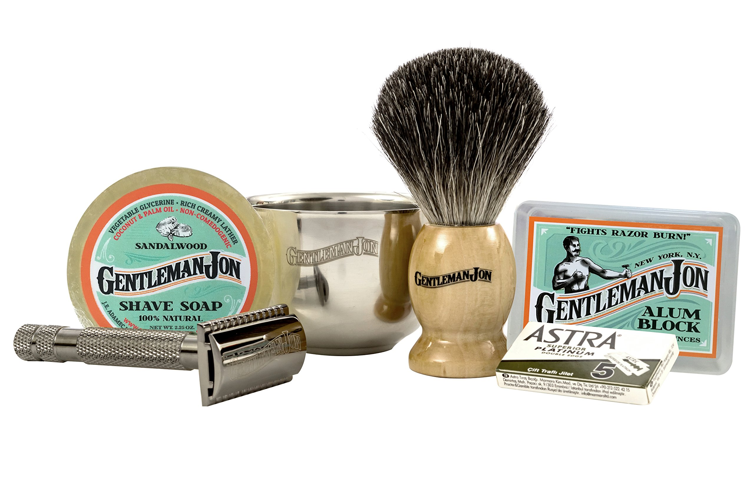 Gentleman Jon Complete Wet Shave Kit | Includes 6 Items: One Safety Razor, One Badger Hair Brush, One Alum Block, One Shave Soap, One Stainless Steel Bowl and Five Razor Blades by Gentleman Jon (Image #2)