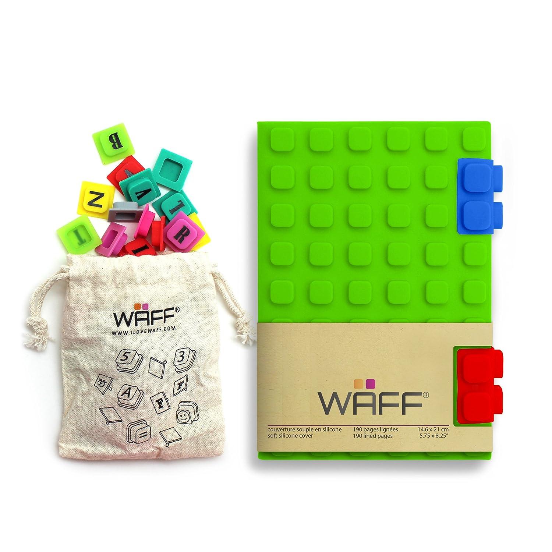 Journal Créatif Combo Vert - Waff - Carnet Personnalisable - Couverture en Silicone - Fermeture avec Clips - 190 pages Lignées - Taille A6 - Coloris ...