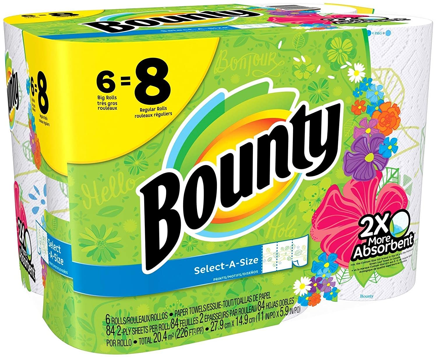 Amazon.com: Bounty Select-a-Size Paper Towels, Prints, Big Roll, 6 Count: Health & Personal Care