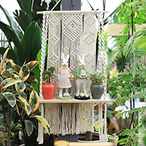JOOIKOS Macrame Wall Hanging Shelf,Plant Hanger Indoor Outdoor Boho Rope Hanging Plant Holder for Wall Decor