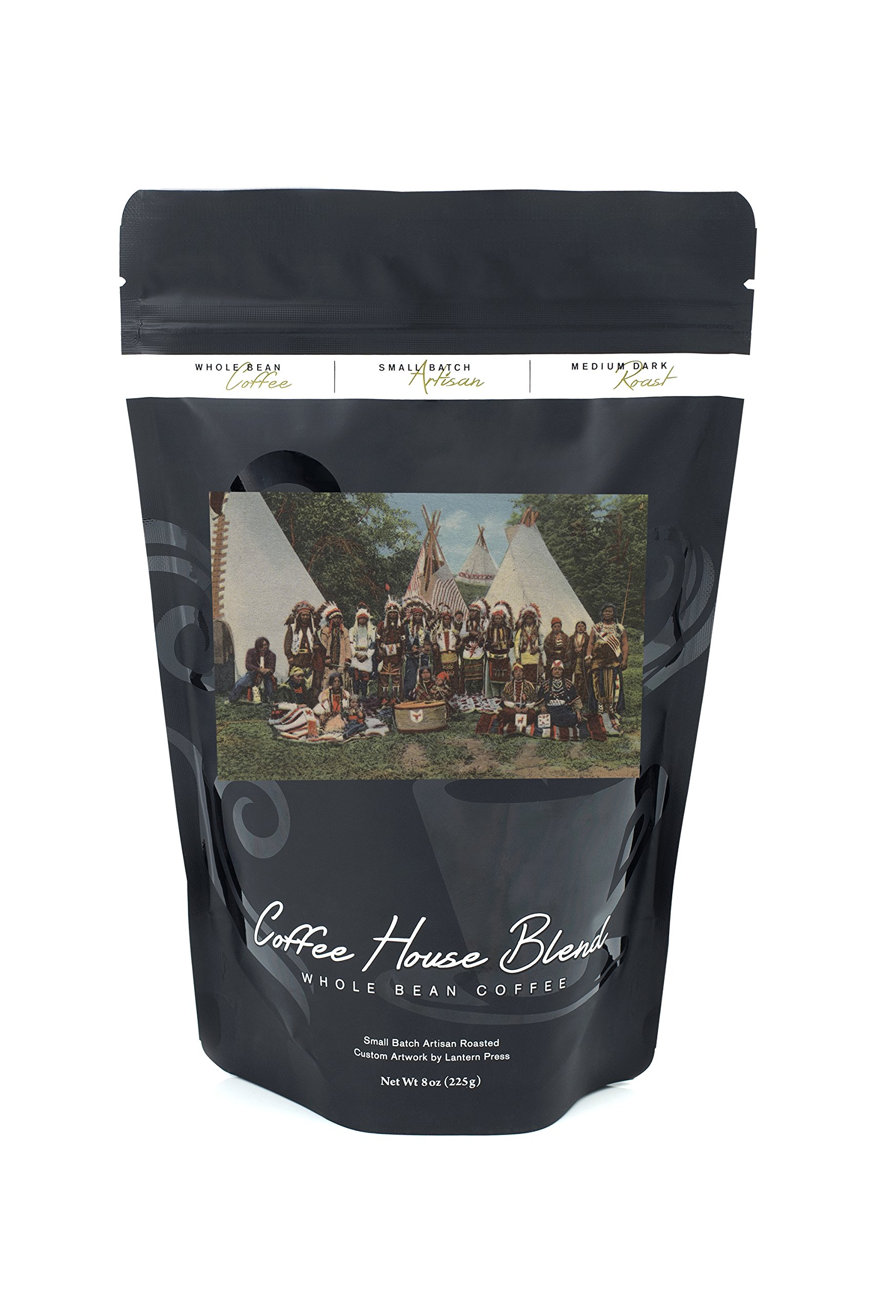 Northwest Indians at a Pow Wow before War Dance (8oz Whole Bean Small Batch Artisan Coffee - Bold & Strong Medium Dark Roast w/Artwork)